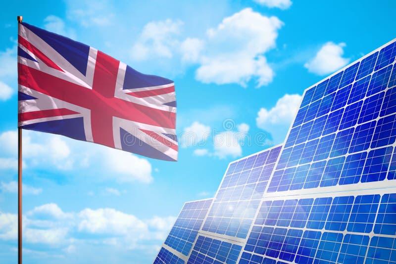 United Kingdom UK alternative energy, solar energy concept with flag industrial illustration - symbol of fight with global. United Kingdom UK alternative energy vector illustration