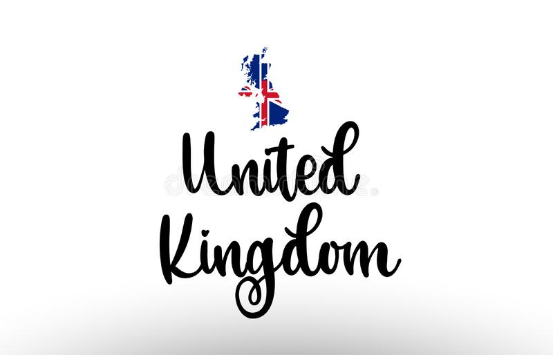 United Kingdom UK country big text with flag inside map concept logo vector illustration