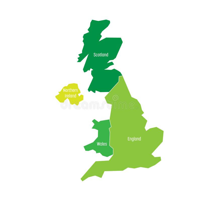 download united kingdom uk of great britain and northern ireland map divided to