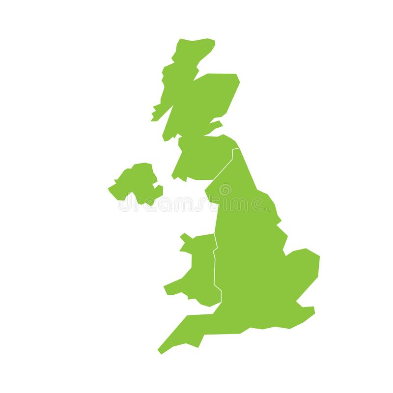 United Kingdom, UK, of Great Britain and Northern Ireland map. Divided to four countries - England, Wales, Scotland and. NI. Simple flat green vector stock illustration