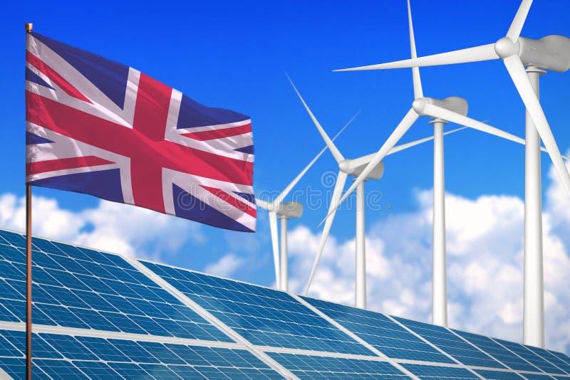 United Kingdom UK solar and wind energy, renewable energy concept with solar panels - renewable energy against global warming -. United Kingdom UK solar and wind stock illustration