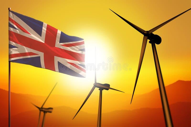 United Kingdom UK wind energy, alternative energy environment concept with wind turbines and flag on sunset industrial. United Kingdom UK wind energy stock illustration
