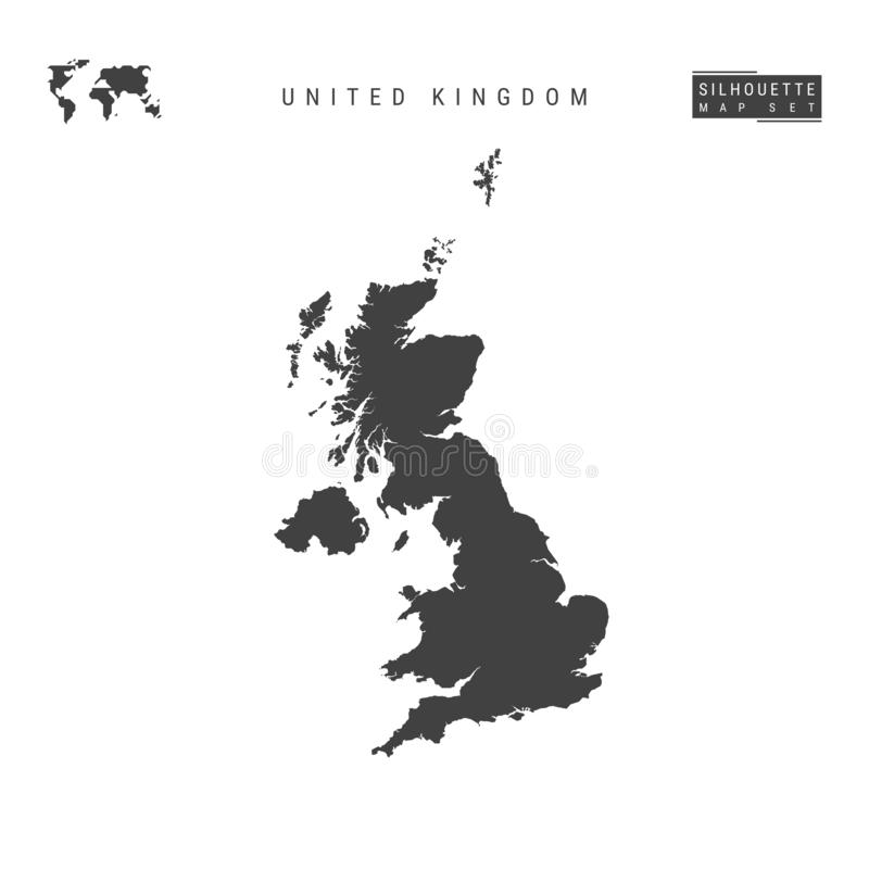 United Kingdom Vector Map Isolated on White Background. High-Detailed Black Silhouette Map of Great Britain stock illustration