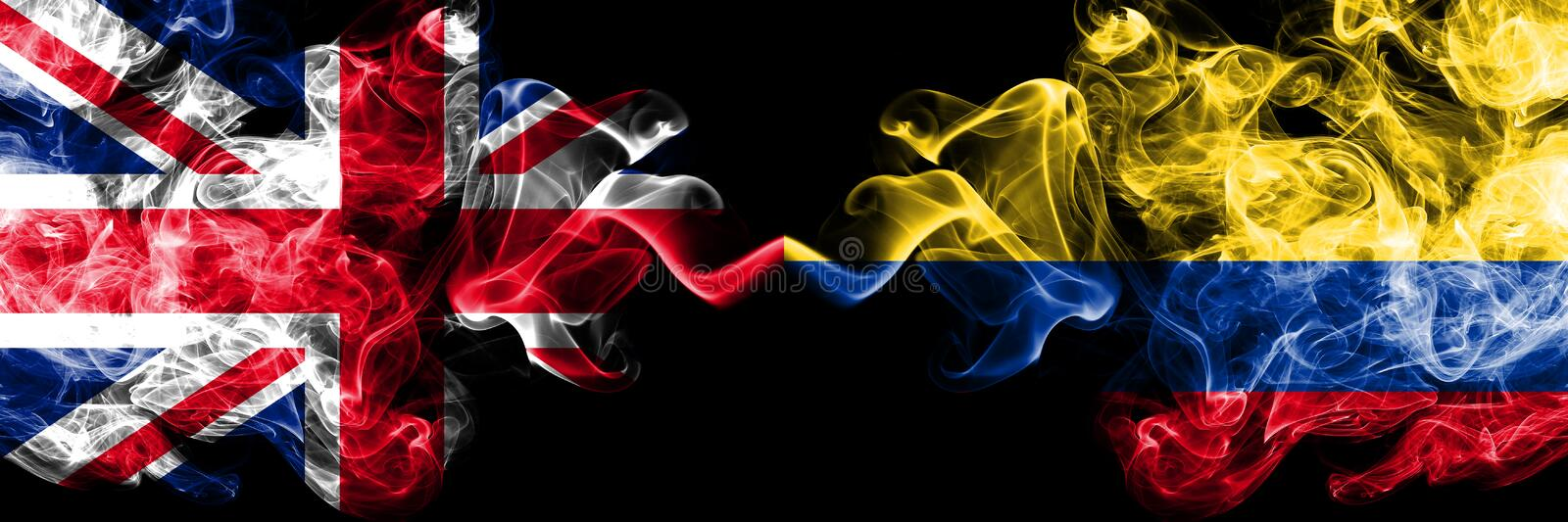 United Kingdom vs Colombia, Colombian smoky mystic flags placed side by side. Thick colored silky smoke flags of Great Britain and. Colombia, Colombian vector illustration