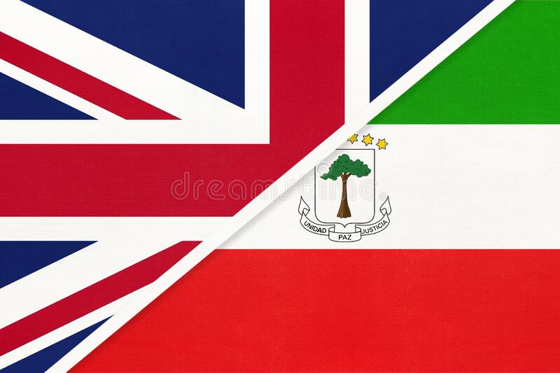 United Kingdom vs Equatorial Guinea national flag from textile. Relationship between two European and African countries. United Kingdom of Great Britain and stock photography