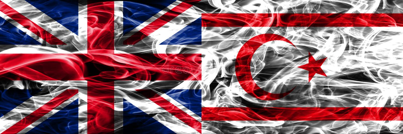 United Kingdom vs Northern Cyprus smoke flags placed side by side. Thick colored silky smoke flags of Great Britain and Northern C. Yprus royalty free stock photography
