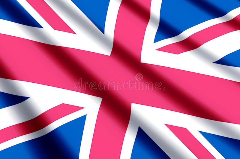 United Kingdom. Waving and closeup flag illustration. Perfect for background or texture purposes stock illustration