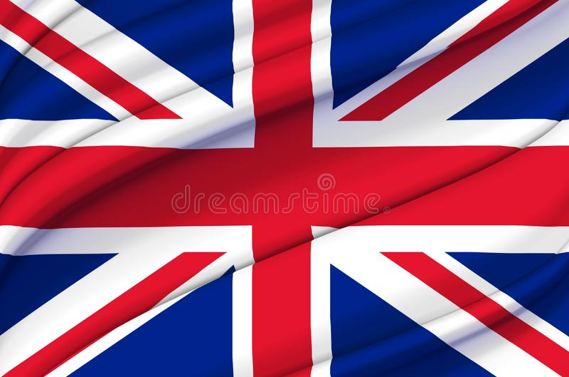 United Kingdom waving flag illustration. stock illustration