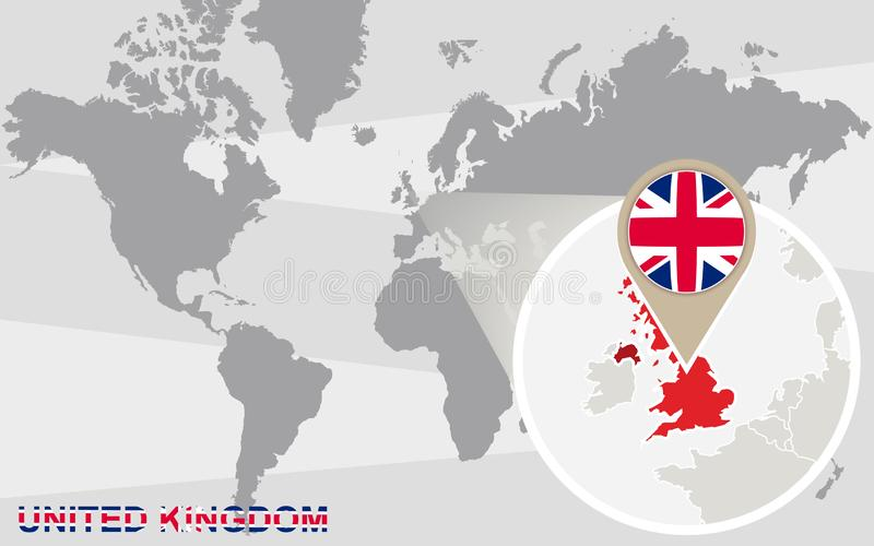 United Kingdom. World map with magnified United Kingdom. United Kingdom flag and map royalty free illustration