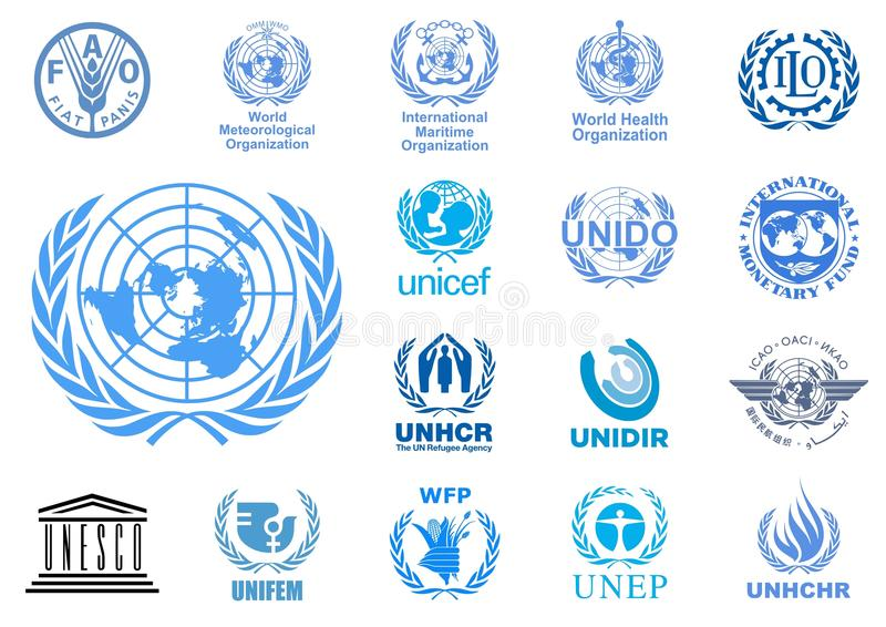 United Nations agencies logos. Vector logos of the most important United Nations agencies. Additional Vector file available for single elements usage