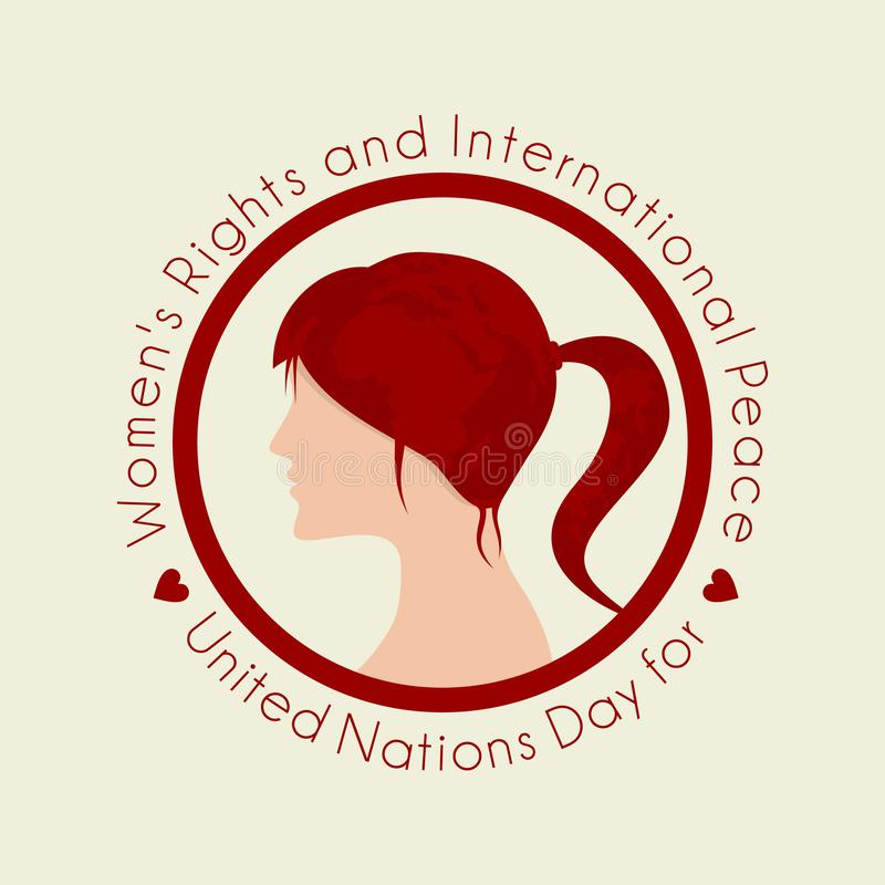 United Nations Day for Women`s Right and International Peace stock illustration