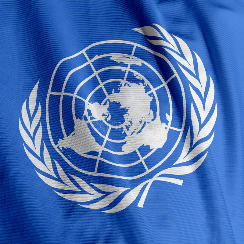 United Nations Flag Closeup stock photo