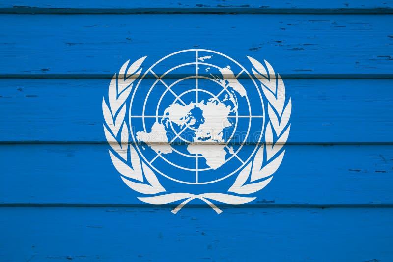 United Nations flag on wood royalty free stock image