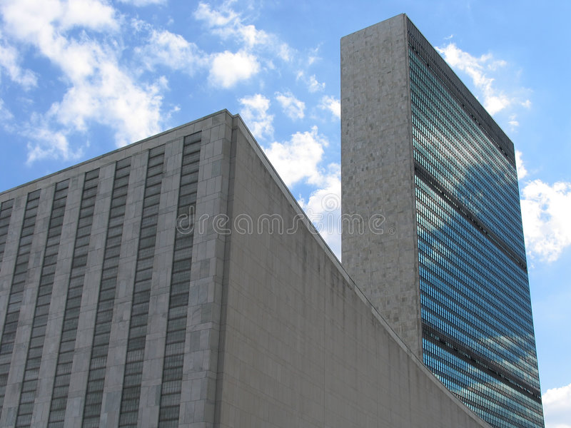 United Nations General Assembly and Secretariat Buildings, Landscape View royalty free stock images