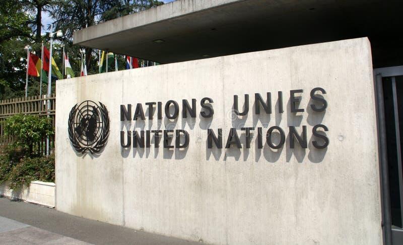 United Nations im Женева: вход стоковое фото rf
