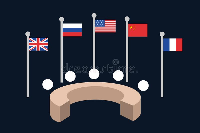 United Nations Security council - five permanent member states and countries Great Britain, Russia, USA, China, France stock illustration