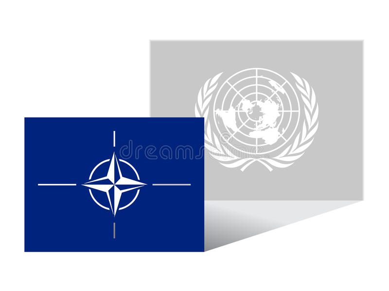 United Nations are a shadow of NATO. Illustration for NATO's military operation in Libya vector illustration