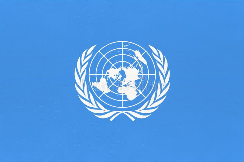 United Nations UN official flag. Sign of the international community of world. The United Nations UN official flag. Sign of the international community of world royalty free stock photography