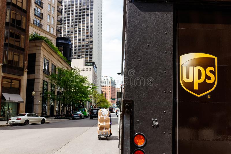 Chicago - Circa May 2018: United Parcel Service Delivery Truck. UPS is the World`s Largest Package Delivery Company I. United Parcel Service Delivery Truck. UPS stock photography