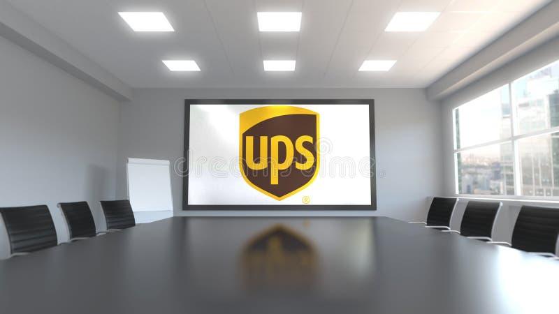 United Parcel Service PODNOSI loga na ekranie w pokoju konferencyjnym Redakcyjny 3D rendering royalty ilustracja