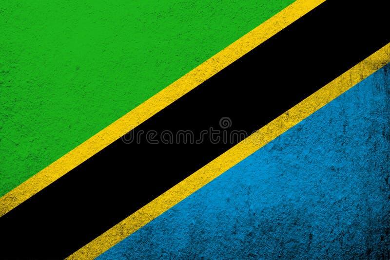 The United Republic of Tanzania National flag. Grunge background stock image