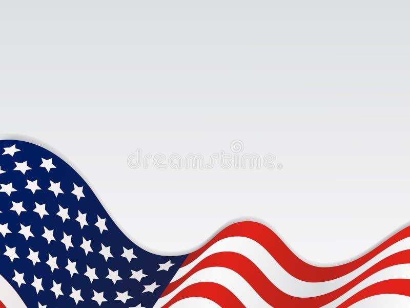 United State Of America Wavy Flag Background. Wavy Flag of the United States over white background stock illustration