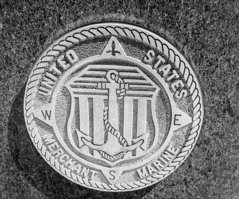United State Merchant Marine stone seal. United States Merchant Marine stone seal in Purgatory Park royalty free stock photos