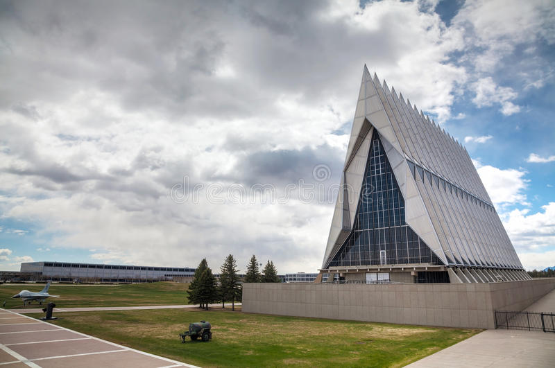 United States Air Force Academy Cadet Chapel in Colorado Springs. COLORADO SPRINGS, COLORADO - APRIL 28: United States Air Force Academy Cadet Chapel on April 28 royalty free stock photo