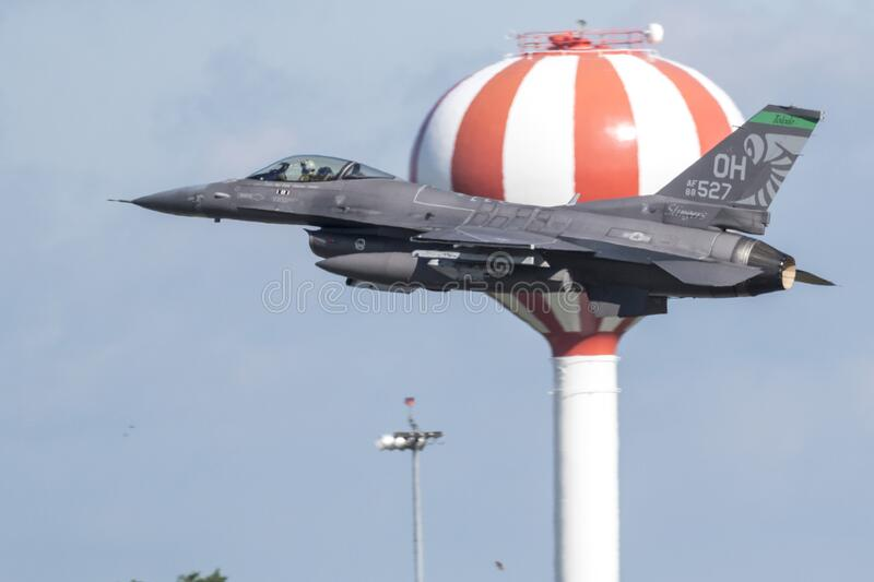 F-16 Fighting Falcon from the 180th Fighter Wing. United States Air Force F-16 Fighting Falcon from the 180th Fighter Wing Toledo, Ohio departing the 2018 stock photo