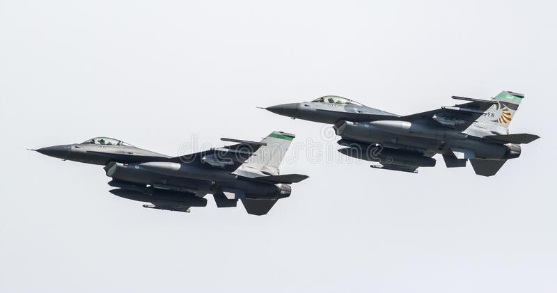 F-16 Fighting Falcon from the 180th Fighter Wing. United States Air Force F-16 Fighting Falcon from the 180th Fighter Wing Toledo, Ohio departing the 2018 stock photos