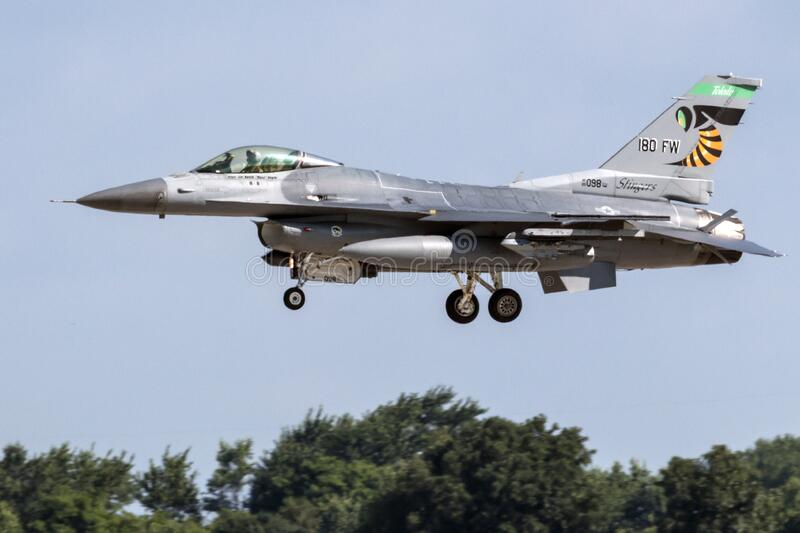 F-16 Fighting Falcon from the 180th Fighter Wing. United States Air Force F-16 Fighting Falcon from the 180th Fighter Wing Toledo, Ohio departing the 2018 royalty free stock photo