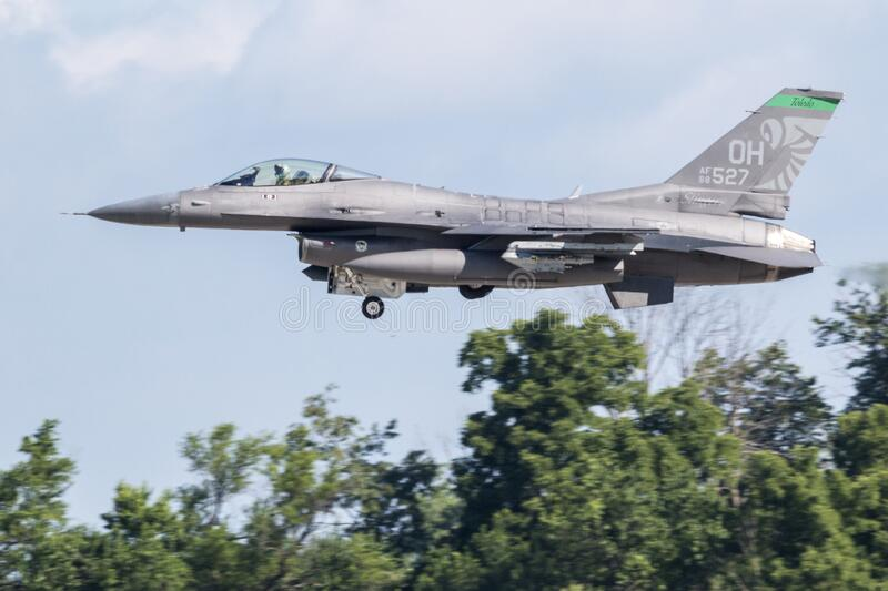 F-16 Fighting Falcon from the 180th Fighter Wing. United States Air Force F-16 Fighting Falcon from the 180th Fighter Wing Toledo, Ohio departing the 2018 stock image