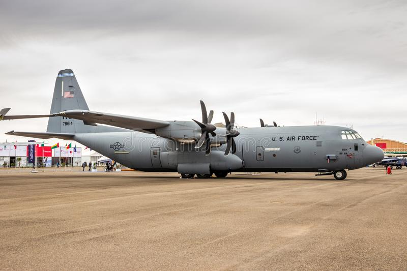 United States Air Force Lockheed C-130 Hercules transport plane. MARRAKECH, MOROCCO - APR 28, 2016: United States Air Force Lockheed C-130 Hercules transport royalty free stock photos
