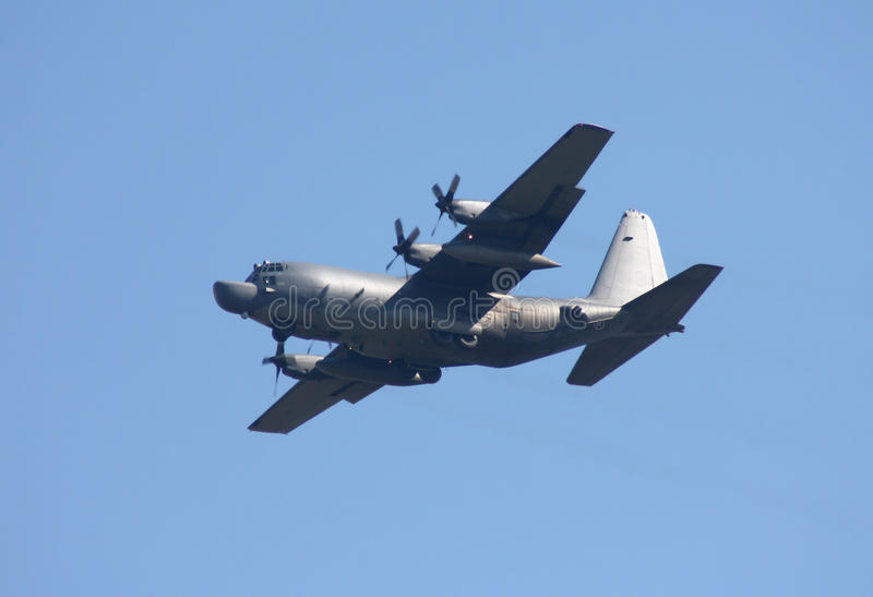 United States Air Force Lockheed MC-130H Hercules. Ready to land with new supply stock image
