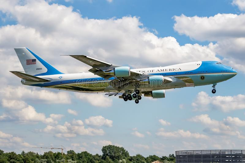 United States Air Force USAF Boeing 747-200 VC-25A Air Force One 92-9000 passenger plane with american president onboard landing. HAMBURG / GERMANY - JULY 6 royalty free stock photo