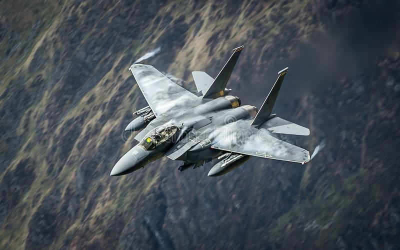 F15 Strike Eagle fighter jet aircraft. United States Air Force USAF F15 Strike Eagle military fighter jet stock photos