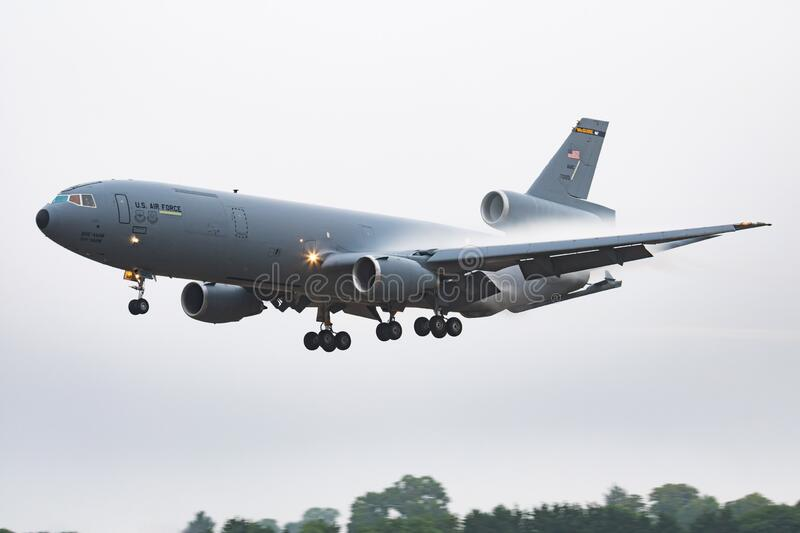 United States Air Force USAF KC-10A Extender 87-0120 transport tanker plane arrival and landing for RIAT Royal International Air. FAIRFORD / UNITED KINGDOM royalty free stock photo