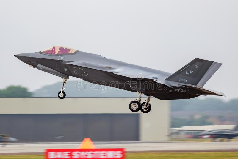 United States Air Force USAF Lockheed F-35A Lightning 15-5164 fighter jet arrival and landing for RIAT Royal International Air royalty free stock photography