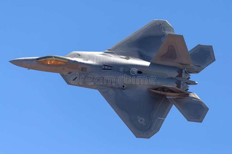 United States Air Force USAF Lockheed Martin F-22A Raptor fifth-generation, single-seat, twin-engine, stealth tactical fighter a. Avalon, Australia - March 3 stock photos
