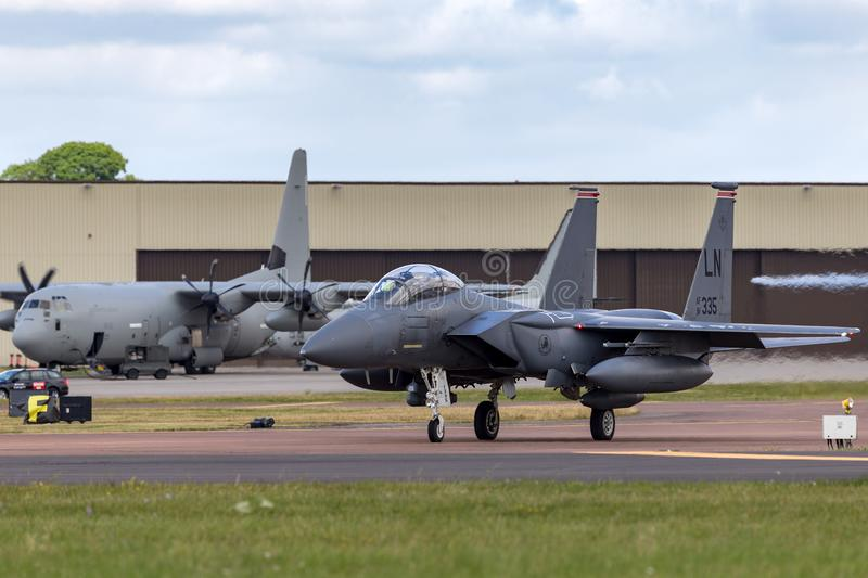 United States Air Force USAF McDonnell Douglas F-15E Strike Eagle 91-0335 from the 494th Fighter Squadron, 48th Fighter Wing. RAF Fairford, Gloucestershire, UK stock photos