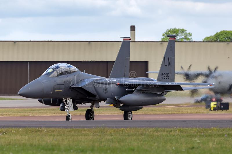 United States Air Force USAF McDonnell Douglas F-15E Strike Eagle 91-0335 from the 494th Fighter Squadron, 48th Fighter Wing. RAF Fairford, Gloucestershire, UK royalty free stock images