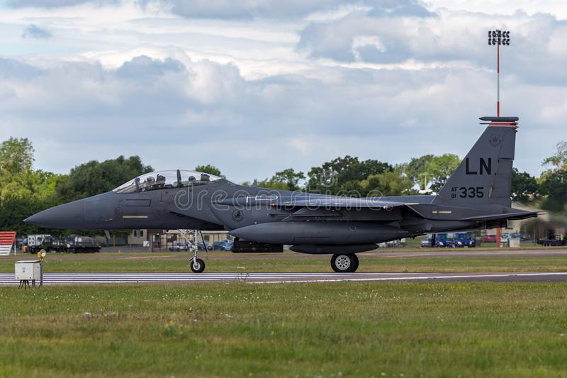 United States Air Force USAF McDonnell Douglas F-15E Strike Eagle 91-0335 from the 494th Fighter Squadron, 48th Fighter Wing. RAF Fairford, Gloucestershire, UK royalty free stock photo