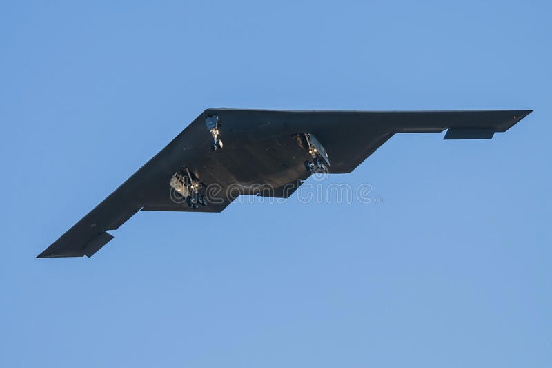 United States Airforce B-2 Stealth Bomber. A United States Airforce B-2 Stealth Bomber flying out of Whiteman Airforce base in centeral Missouri USA stock photography