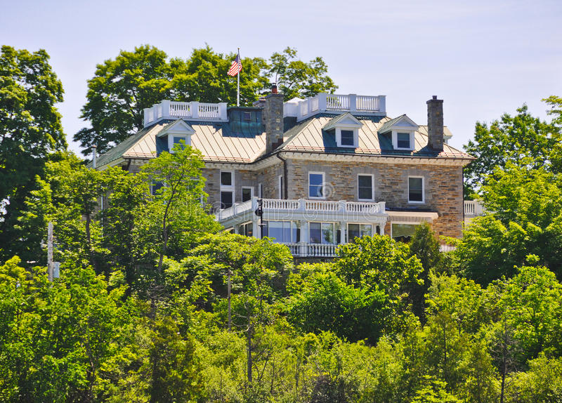 United States Ambassador's residence Ottawa, Canada. River view of Lornado the official residence of the United States Ambassador to Canada. It sits in a royalty free stock images