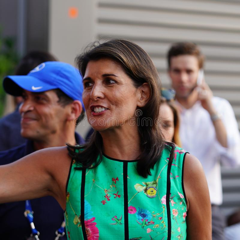 United States Ambassador to the United Nations Nikki Haley attends 2018 US Open day session at USTA National Tennis Center. NEW YORK - AUGUST 27, 2018: United royalty free stock images