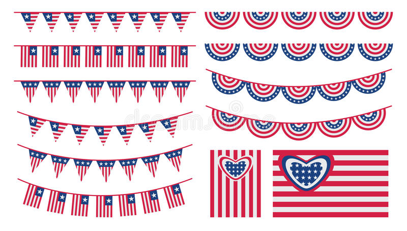 Download United States Of America Bunting And Flags Stock Vector - Illustration: 32828404