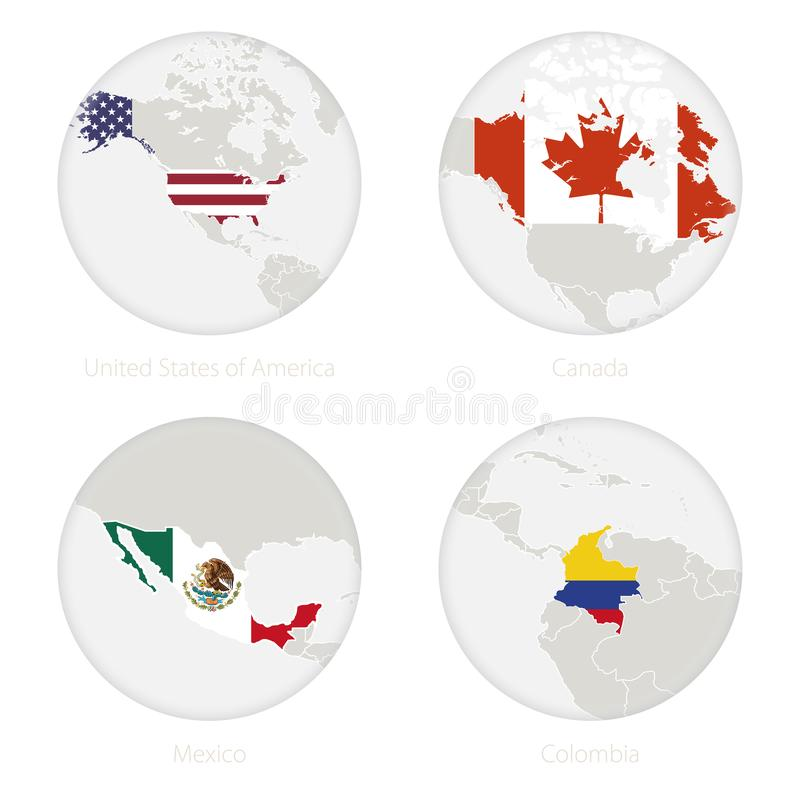 United States of America, Canada, Mexico, Colombia map contour and national flag in a circle royalty free illustration