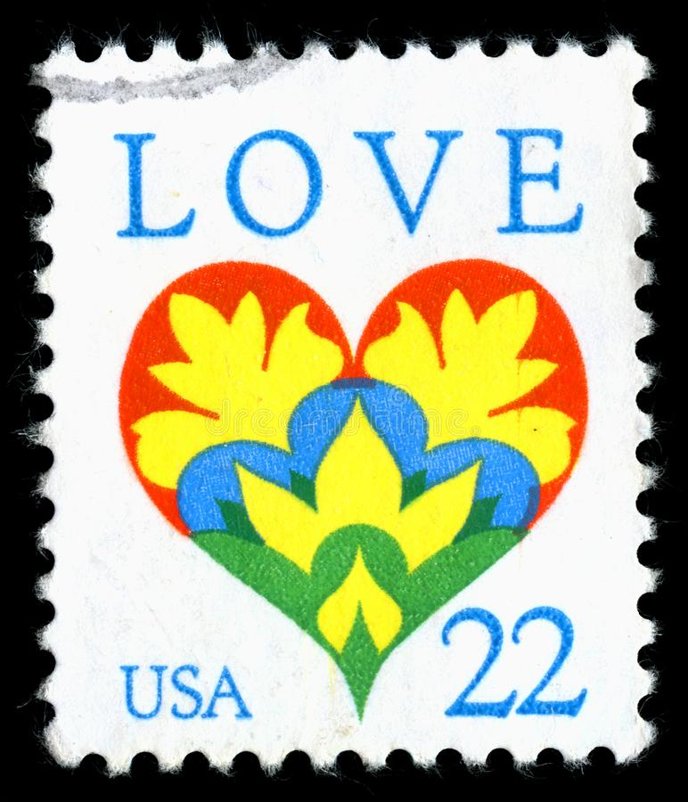 United States of America cancelled postage stamp showing an image of a love heart stock photos
