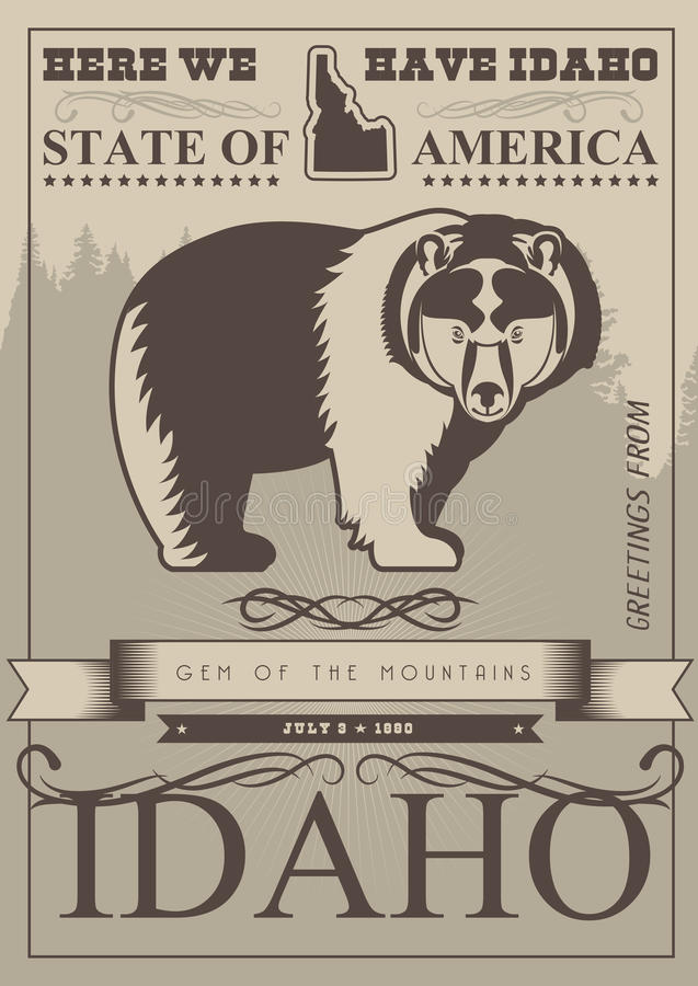 United States of America card with bear in vintage style stock illustration
