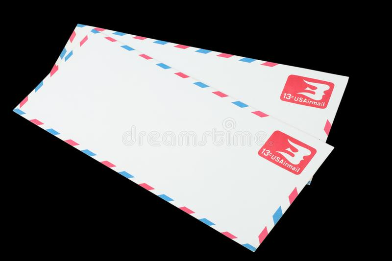UNITED STATES OF AMERICA - CIRCA 1968: A old envelope for Air Mail. UNITED STATES OF AMERICA - CIRCA 1968: A old envelope for US Air Mail royalty free stock photos